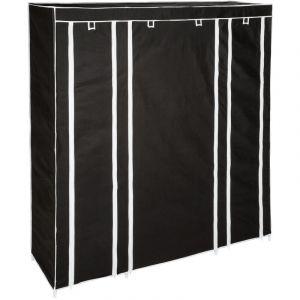 Armoire Penderie à 12 Compartiments en Tissu 150 cm x 175 cm x 45 cm Noir - TECTAKE
