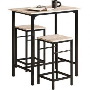 Set de 1 Table + 2 Tabourets avec repose-pieds Table Mange-debout Table haute cuisine OGT10-N SoBuy®