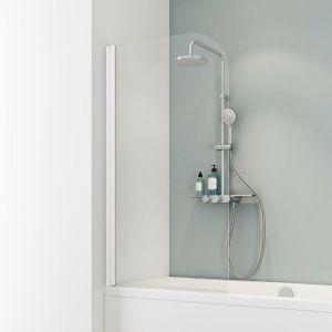 Schulte - Pare-baignoire rabattable, 80 x 140 cm, verre 5 mm, paroi de baignoire 1 volet, écran de baignoire pivotant, Capri Verre transparent, profilé blanc