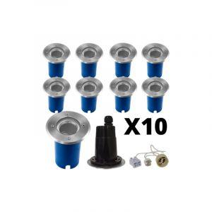 Lot de 10 Spots exterieurs encastrables Inox 316 L pour LED GU10 ou GU5.3 - VISION-EL