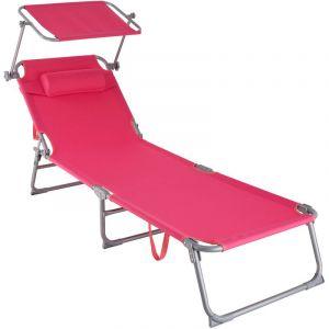 Transat CHLOE - chaise longue, bain de soleil, transat jardin - rose vif - TECTAKE