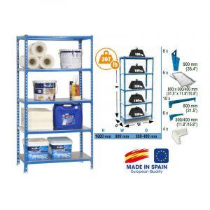 SimonRack - Etagère de rangement Simonclick 1800x800x400mm Bleu galva Charge 180Kg - MINI 400