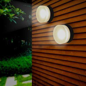 Silamp - Applique Murale Noire Ronde LED IP65 15W - Blanc Neutre 4000K - 5500K