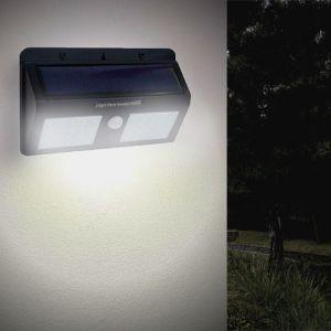 Applique Murale Solaire LED Noire 1.5W IP54 avec Détecteur de Mouvement - Blanc Froid 6000K - 8000K - SILAMP