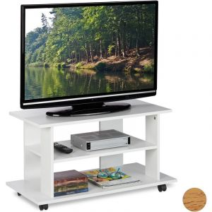 Meuble TV sur roulettes, 2 compartiments, Console TV, receiver, Table TV sur roulettes HlP 45 x80x40cm, blanc - RELAXDAYS