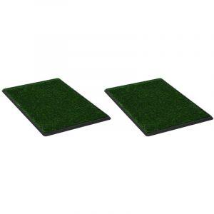 Tapis pour animaux 2 pcs avec plateau et gazon artificiel Vert - VIDAXL