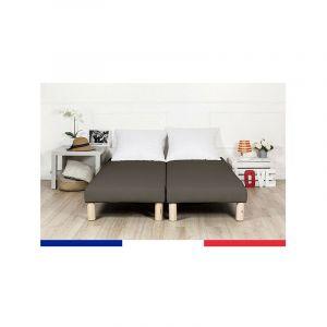 Sommier tapissier 2x100x200 marron (200x200) frabrication francaise - BY SOMMIFLEX