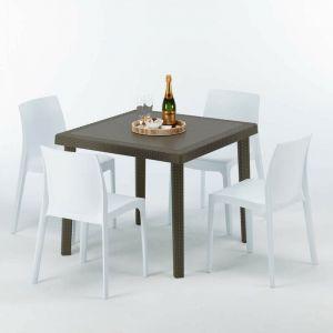 Table carrée et 4 chaises colorées Poly rotin resine 90x90 marron | Rome Blanc - GRAND SOLEIL