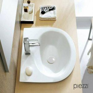 Bonde pour vasque + cache rond en céramique blanche - PIEZZI