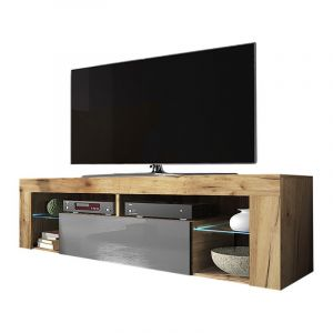 Selsey BIANKO - Meuble TV / Banc TV (140 cm, chêne lancaster / gris brillant, éclairage LED)