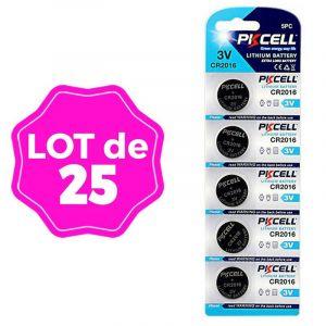 Lot de 25 Piles Bouton CR2016 3V 75mAh Lithium PKCell