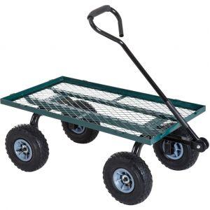 Chariot de transport jardin remorque à main charrette à bras 4 roues 98L x 45l x 85H cm charge max. 150 Kg acier vert - Outsunny