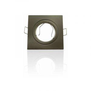 Support spot encastrable carré orientable Aluminium brossé | Sans douille - Aluminium brossé - LECLUBLED