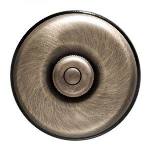DIMBLER - Bouton Poussoir Carillon Porcelaine Noire Coque Bronze Réf. 60310753 - FONTINI