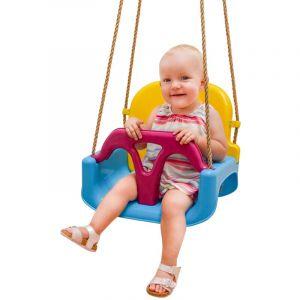 LittleTom 3-en-1 Balançoire 40x43x33cm pour petits enfants 6-72 mois Bleu-Jaune