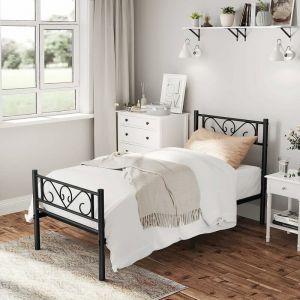 VASAGLE Lit Simple, Cadre de lit en métal, pour Matelas de 90 x 190 cm, pour Adultes, Enfants, Pas Besoin de sommier, Assemblage Simple, pour Petits espaces, Noir par SONGMICS RMB061B01