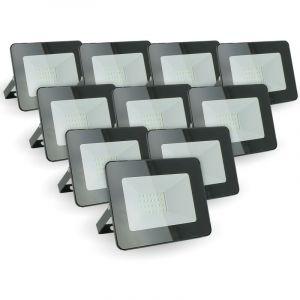 Eclairage Design - Lot de 10 projecteurs LED 20W IP65 extérieur   Température de Couleur: Blanc froid 6400K