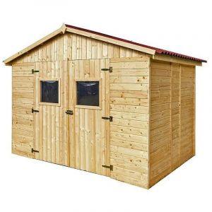 Abri en panneaux de bois 16 mm - surface utile 5,41 m² - double porte - sans plancher