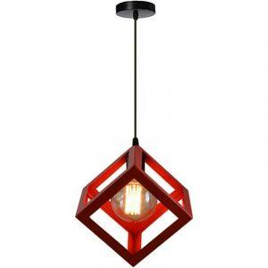 Suspension Design Cage Cube Luminaire Contemporain, Lustre abat-jour Carré pour Salon Salle à Manger E27 Rouge - STOEX