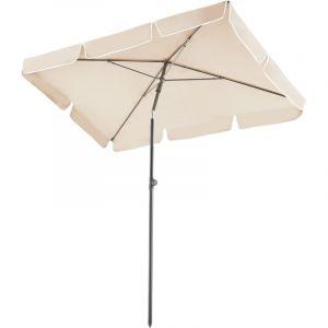 Parasol rectangulaire inclinable 200 cm x 125 cm x 235 cm en Aluminium Beige - TECTAKE