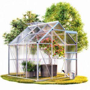 Serre de jardin en aluminium 5,85m³ avec fenêtre et gouttière - M4 - GARDEBRUK