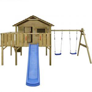 Aire de jeu, échelle, toboggan, balançoires 480x440x294 cm Bois - VIDAXL