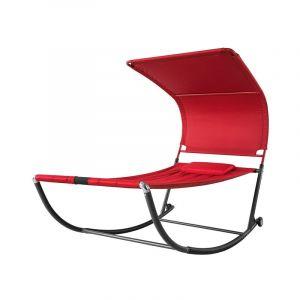 Transat de Jardin Transat à Bascule avec Pare-Soleil et 2 roulettes Chaise Longue à Bascule Bain de Soleil Confortable - Rouge OGS44-R SoBuy®