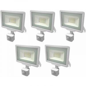Lot de 5 Projecteurs LED Blancs 20W (100W) à Détecteur IP65 1600lm - Blanc du Jour 6000K
