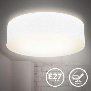 Plafonnier textile blanc 2 douilles E27 rond Ø38cm éclairage plafond salon salle à manger chambre  - B.K.LICHT