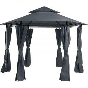 Beliani - Tonnelle de jardin hexagonale gris graphite ? 350 cm PORTEL