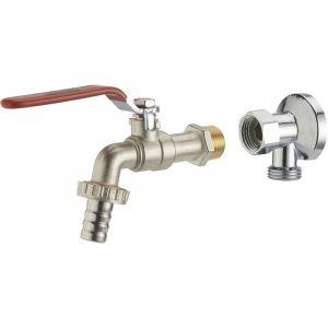 Kit robinet 1/4 tour m15x21 nez ø15 + applique m15x21 f15x21 écrou libre chromée NOYON & THIEBAULT