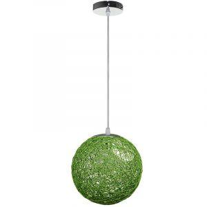 STOEX Rétro Suspension Luminaire en Rotin Globe Rond 20cm, Lustre Abat-jour DIY Lampe Plafond E27 pour Salon Restaurant Centre commercial Bar (Vert)