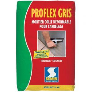 Mortier colle déformable pour carrelage Semin Proflex Gris - sac 25 kg
