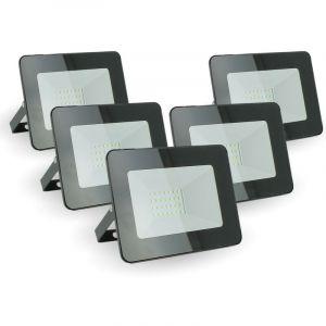 Lot de 5 projecteurs LED 20W IP65 extérieur   Température de Couleur: Blanc froid 6400K