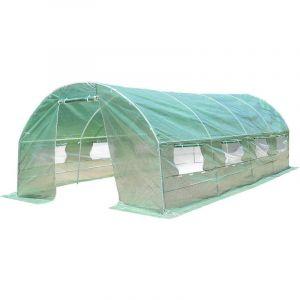 Serre Jardin Tunnel 300*600*200cm en PE Serre à Tomates en Acier Antirouille avec Zip recto-verso Anti-UV Imperméable - Costway