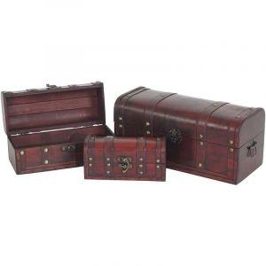 Coffre bois de décoration LOT DE TROIS Valence aspect antiquité, 10x21x10 - 17x38x18cm ~ rond - HHG