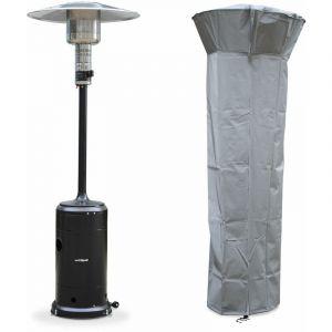 Chauffage d'extérieur gaz 12,5kW - Finland noir- Parasol chauffant réglable, roulettes et housse - ALICE'S GARDEN