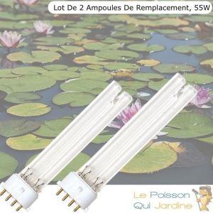 Www.lepoissonquijardine.fr - Lot de 2 Ampoules De Remplacement, UVC 55W, Pour Aquarium, Bassin De Jardin