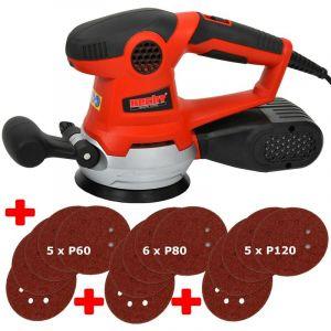 Ponceuse orbitale 450 W Variateur de vitesse continu 16 Feuilles Abrasives Papier Équiper - HECHT
