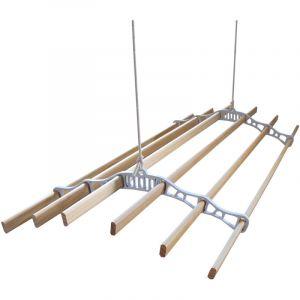 Etendoir à Linge Suspendu de 1,2 Mètre, 6 Lattes en Pin Vernissés, Supports en Fonte et Poulie Blancs - MONSTER SHOP