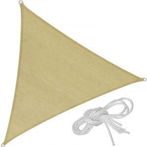 Tectake - Voile d'Ombrage Triangulaire 5 m x 5 m x 5 m Sable du Désert