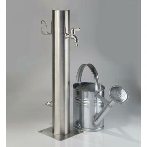 Westfalia Wasserwelten Robinet d'extérieur en acier inoxydable à 2 robinets et porte-tuyau
