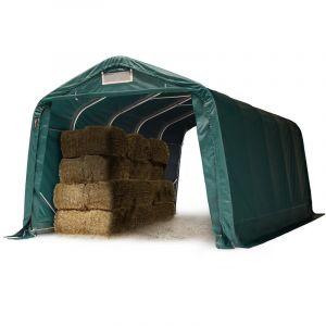 Tente de pâturage robuste 3,3x6 m étanche bâche PVC 550g/m² abri pour chevaux moutons écurie ouverte, vert - INTENT24.FR