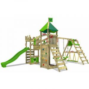 Aire de jeux Portique bois RiverRun avec balançoire SurfSwing et toboggan vert pomme Maison enfant exterieur avec bac à sable, échelle d'escalade - Fatmoose