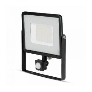 V-TAC PRO VT-50-S projecteur LED 50W chip samsung smd avec sensor PIR 6400K slim noir IP65 - SKU 471