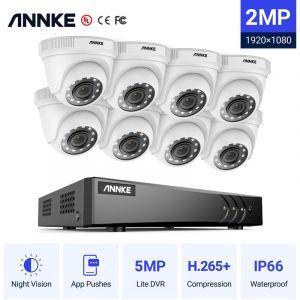 Annke Kit caméra de surveillance filaire 8CH 5 en 1 DVR 3MP enregistreur + 8 caméra HD 1080P Extérieur vision nocture 20m – avec 8 caméra dôme sans disque dur