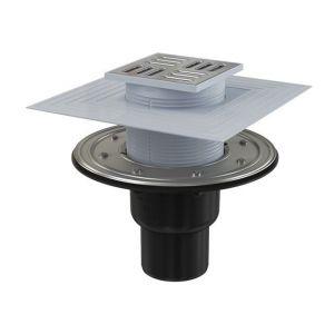 Siphon de sol, sortie verticale Ø75/50mm, grille inox 105x105mm, APV4344 - ALCAPLAST