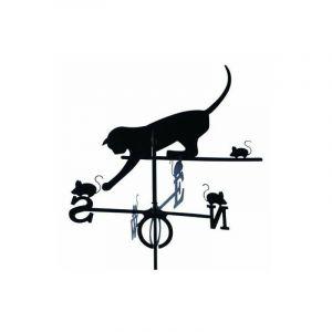 Girouette chat et souris en fer forgé grand modèle