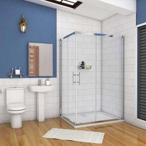 Aica Sanitaire - cabine de douche 110x70cm accaccès d'angle cabine de douche rectangle porte de douche coulissante hauteur:195cm