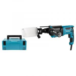 Makita HR2630J SDS-Plus Marteau Perforateur-Burineur incl. aspirateur dans MAKPAC 800W - 2,4J - avec set d'aspiration